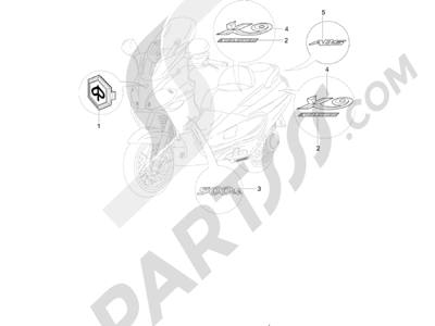 Piaggio X9 500 Evolution ABS 2006-2007 Letreros - Escudos