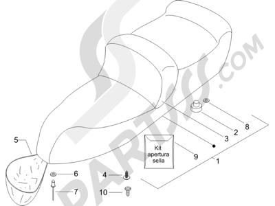 Piaggio X9 500 Evolution ABS 2006-2007 Sillín asientos - Bolsa herramienta