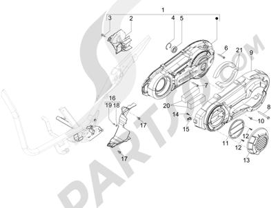 Piaggio X9 500 Evolution ABS 2006-2007 Tapa cárter - Refrigeracion cárter