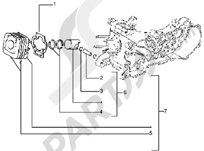 Piaggio Zip 1998-2005 Grupo cilindro-piston-eje de piston