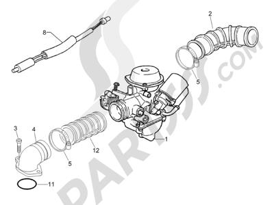 Piaggio Zip & Zip HASTA 1997 Carburador completo - Racord admisión