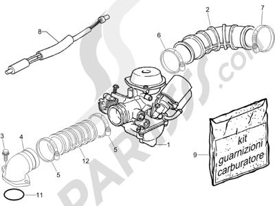 Piaggio Zip 100 4T 2006-2010 Carburador completo - Racord admisión