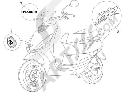 Piaggio Zip 100 4T 2006-2010 Letreros - Escudos