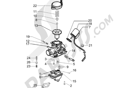 Piaggio Zip 100 4T (Vietnam) 2011-2014 Componentes de carburador