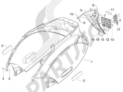 Piaggio Zip 100 4T (Vietnam) 2011-2014 Cubierta trasera - Salpicador