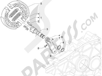 Piaggio Zip 100 4T (Vietnam) 2011-2014 Freno trasero - Zapatas