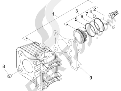 Piaggio Zip 100 4T (Vietnam) 2011-2014 Grupo cilindro-pistón-eje
