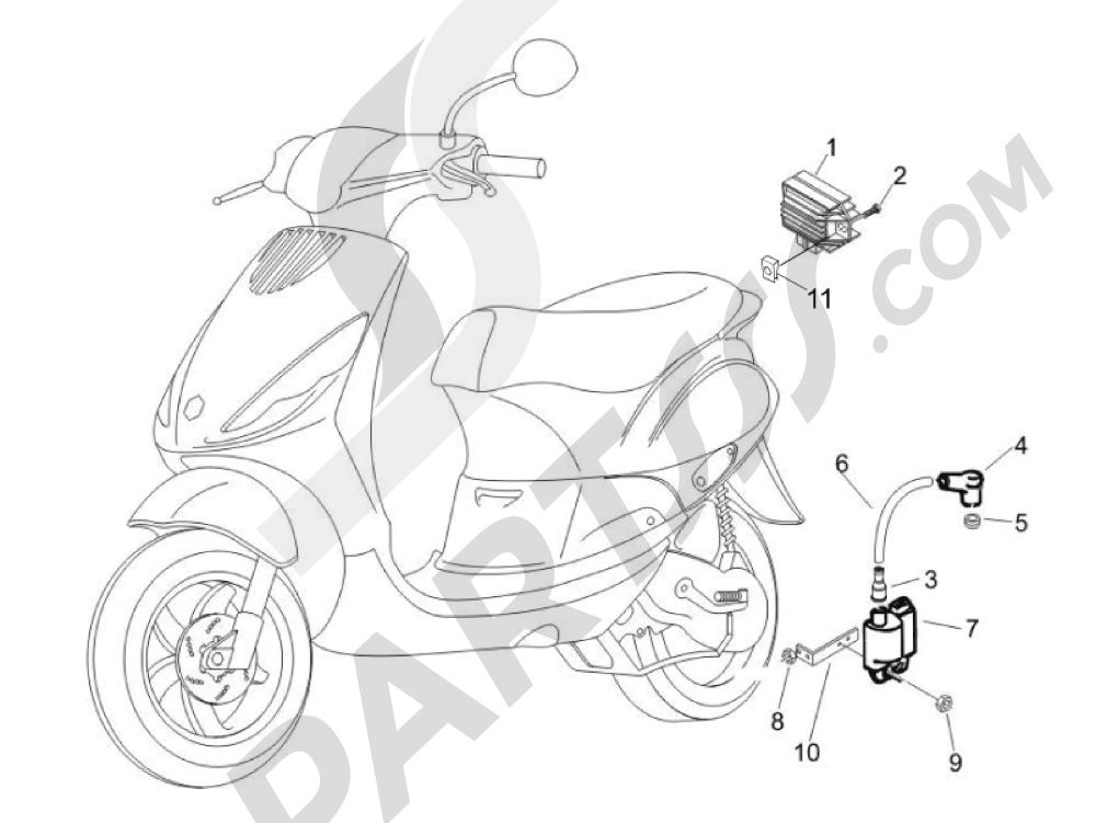 Piaggio Zip 100 4T (Vietnam) 2011-2014 Reguladores de tensión - Centralitas electrónicas - Bobina A.T.
