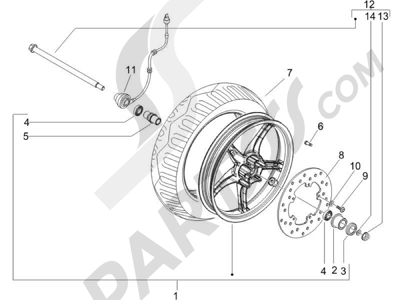 Piaggio Zip 100 4T (Vietnam) 2011-2014 Rueda delantera