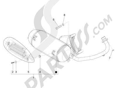 Piaggio Zip 100 4T (Vietnam) 2011-2014 Silenciador