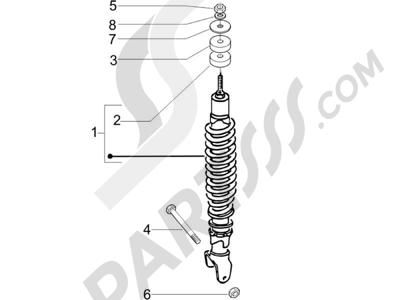 Piaggio Zip 100 4T (Vietnam) 2011-2014 Suspensión trasera - Amortiguador es