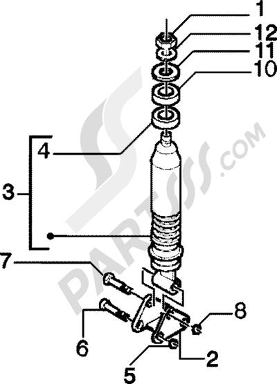 Piaggio Zip 125 4T 1998-2005 Amortiguador trasero