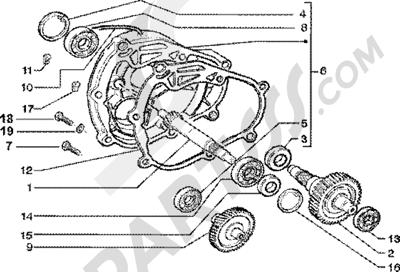 Piaggio Zip 125 4T 1998-2005 Eje rueda trasera
