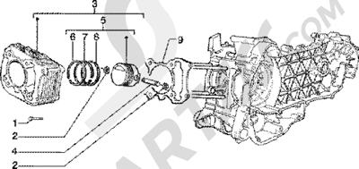 Piaggio Zip 125 4T 1998-2005 Grupo cilindro-piston-eje de piston
