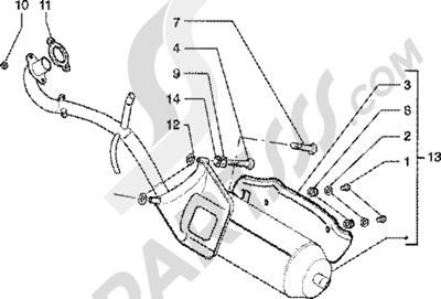 Piaggio Zip 125 4T 1998-2005 Silenciador escape catalizado