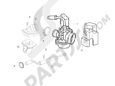 Piaggio Zip 50 2T 2009-2015 Carburador completo - Racord admisión