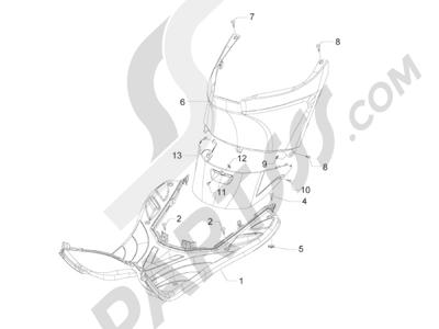 Piaggio Zip 50 2T 2009-2015 Cubierta central - Estribos