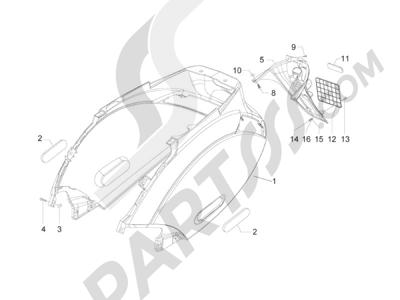 Piaggio Zip 50 2T 2009-2015 Cubierta trasera - Salpicador