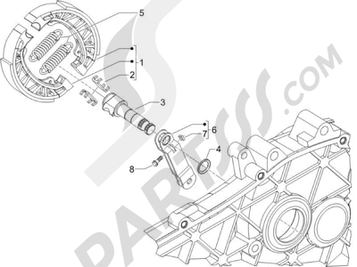 Piaggio Zip 50 2T 2009-2015 Freno trasero - Zapatas