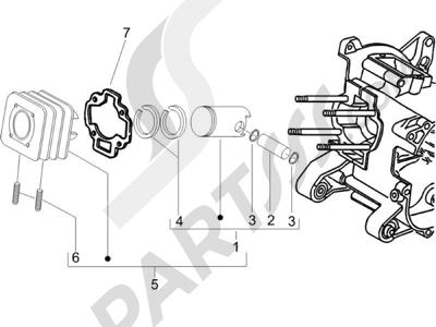 Piaggio Zip 50 2T 2009-2015 Grupo cilindro-pistón-eje