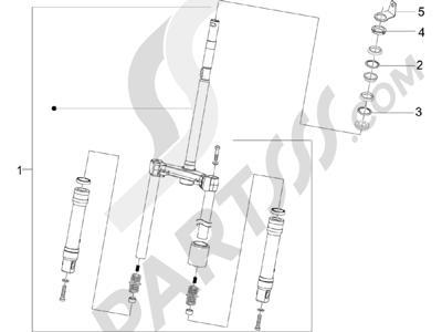 Piaggio Zip 50 2T 2009-2015 Horquilla Tubo direccion - Conjunto tejuelos