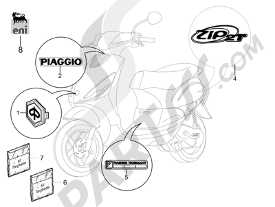 Piaggio Zip 50 2T 2009-2015 Letreros - Escudos