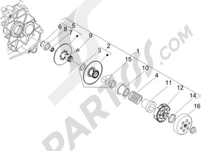 Piaggio Zip 50 2T 2009-2015 Polea conducida