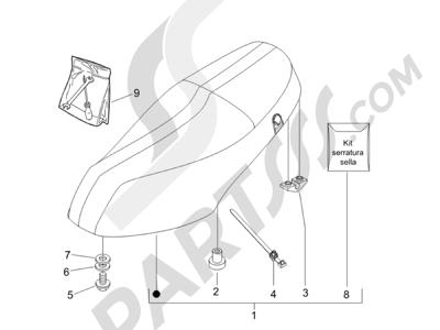 Piaggio Zip 50 2T 2009-2015 Sillín asientos - Bolsa herramienta