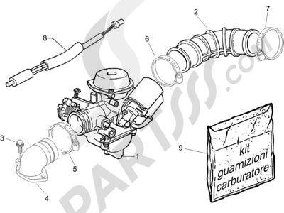 Piaggio Zip 50 4T 2006-2013 Carburador completo - Racord admisión
