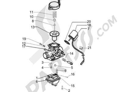 Piaggio Zip 50 4T 2006-2013 Componentes de carburador