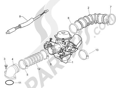 Piaggio Zip 50 4T 25 Km-h 2006-2013 Carburador completo - Racord admisión