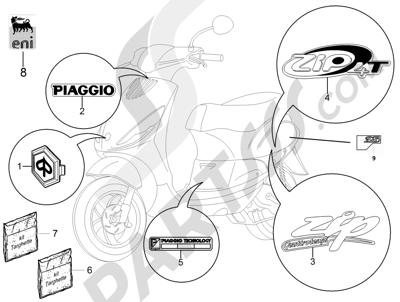 Piaggio Zip 50 4T 25 Km-h 2006-2013 Letreros - Escudos