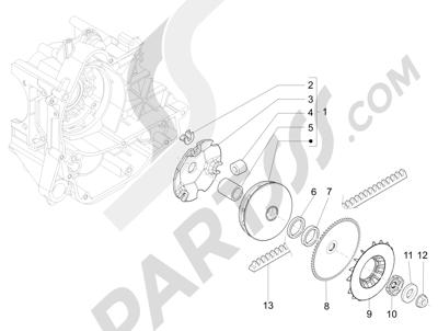 Piaggio Zip 50 4T 25 Km-h 2006-2013 Polea conductora