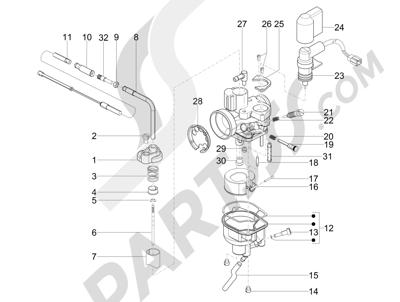 Piaggio Zip 50 SP Euro 2 2006-2013 Componentes de carburador