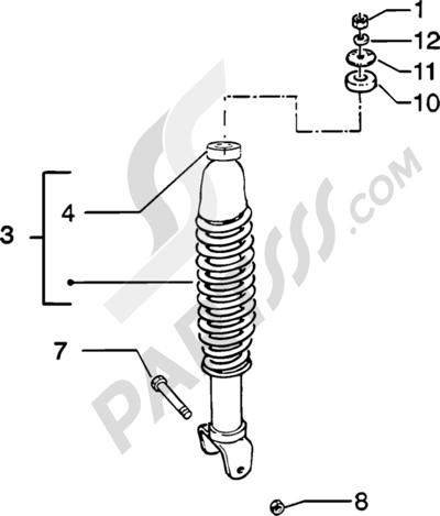 Piaggio Zip Catalyzed 1998-2005 Amortiguador trasero