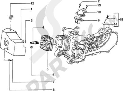Piaggio Zip Catalyzed 1998-2005 Culata-deflector y racor de admision
