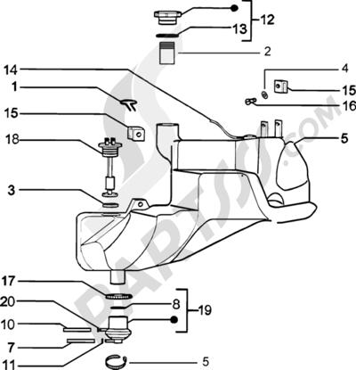 Piaggio Zip Catalyzed 1998-2005 Deposito carburante
