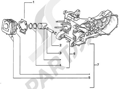 Piaggio Zip Catalyzed 1998-2005 Grupo cilindro-piston-eje de piston