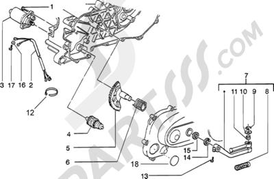 Piaggio Zip Catalyzed 1998-2005 Motor de arranque-palanca de arranque
