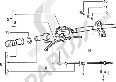 Piaggio Zip Catalyzed 1998-2005 Piezas que componen el manillar