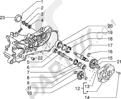 Piaggio Zip Fast Rider RST 1998-2005 Eje rueda trasera
