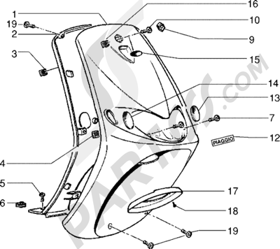 Piaggio Zip Fast Rider RST 1998-2005 Escudos-Mascara