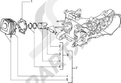 Piaggio Zip Fast Rider RST 1998-2005 Grupo cilindro-piston-eje de piston