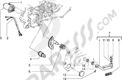 Piaggio Zip Fast Rider RST 1998-2005 Motor de arranque-Palanca de arranque