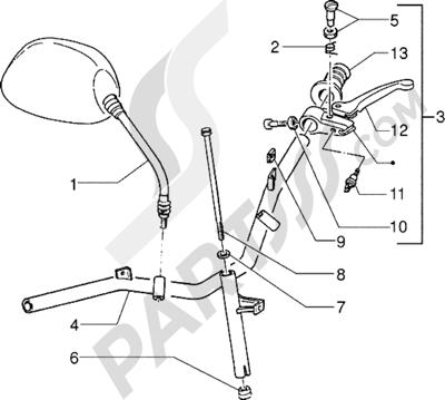Piaggio Zip Fast Rider RST 1998-2005 Piezas que componen el manillar