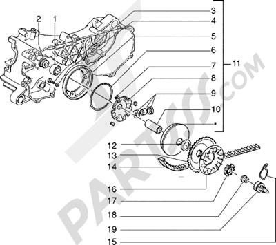 Piaggio Zip Fast Rider RST 1998-2005 Polea motriz