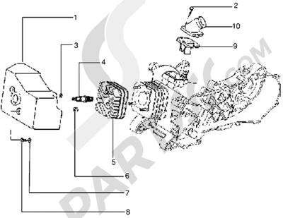 Piaggio Zip freno a disco 1998-2005 Culata-deflector y racor de admision