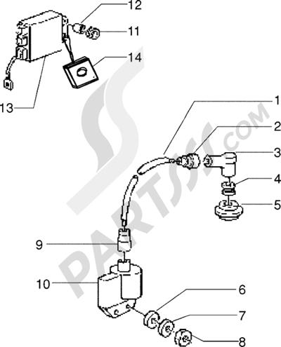 Piaggio Zip freno a disco 1998-2005 Dispositivos electricos para vehículos con antistart
