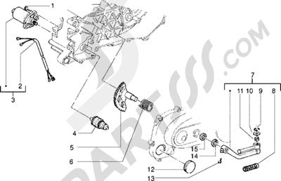 Piaggio Zip freno a disco 1998-2005 Motor de arranque-Palanca de arranque