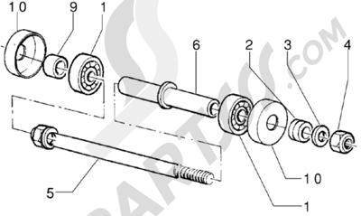 Piaggio Zip RST 1998-2005 Componentes rueda delantera - (Version freno de disco)
